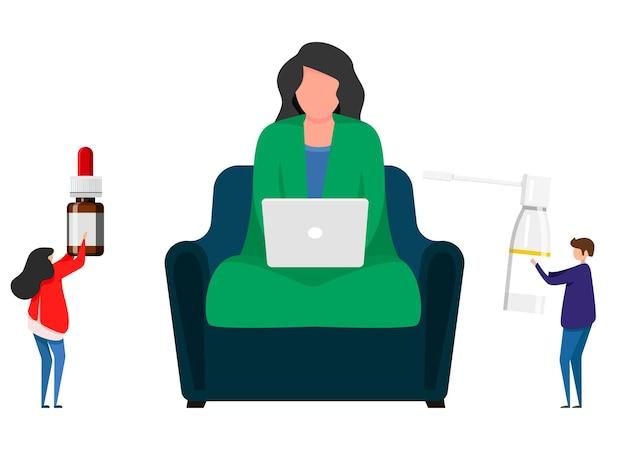 Больная женщина с ангиной сидит на стуле в доме. сезонная проблема со здоровьем, инфекция, вирус. больная девочка сидит дома и работает за компьютером, завернувшись в одеяло. векторная иллюстрация
