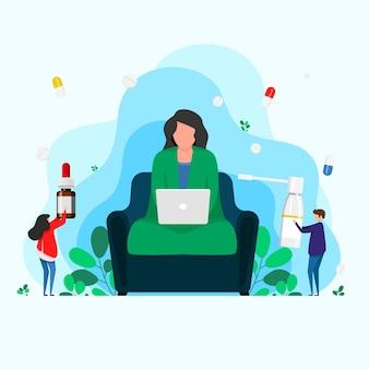 Больная женщина с ангиной сидит на стуле в доме. сезонная проблема со здоровьем, инфекция, вирус. больная девочка сидит дома и работает за компьютером, завернувшись в одеяло.