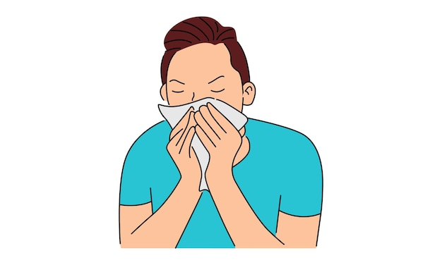 Sick young man sneezing into handkerchief