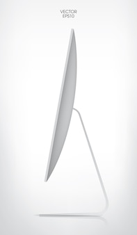 Сторона дисплея компьютера на белом фоне