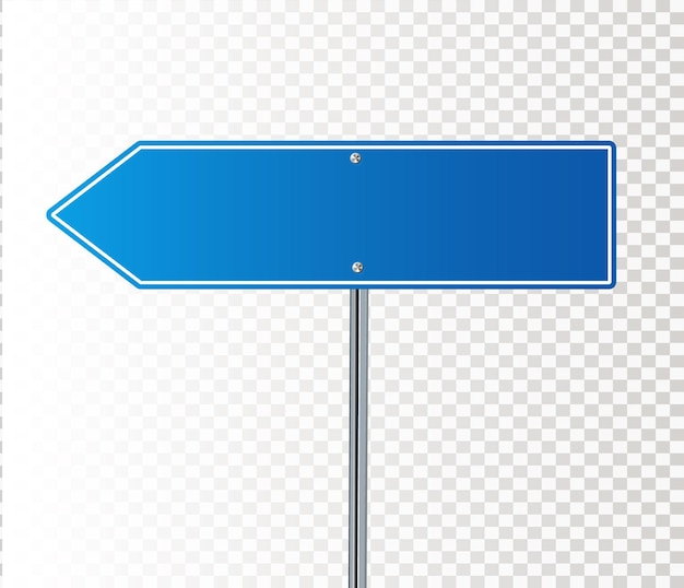 Side road blank blue sign d illustration isolated on white background