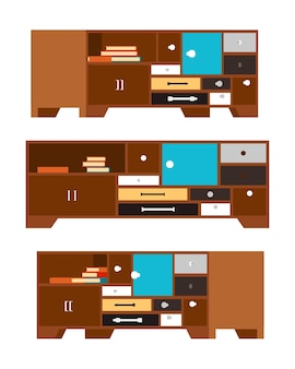 Side tableswith the drawers and doors illustration