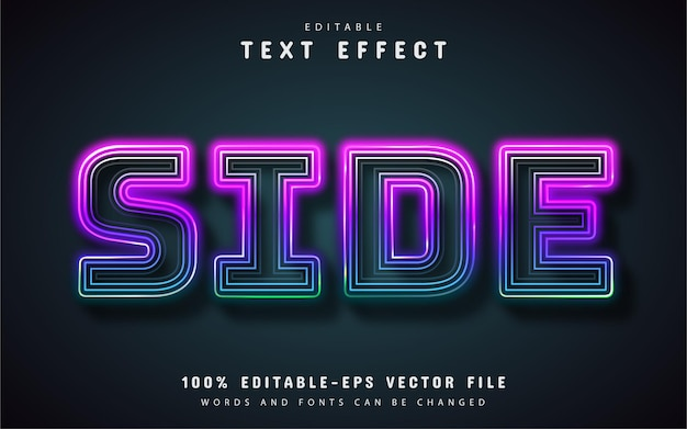 Side text, editable line neon text effect