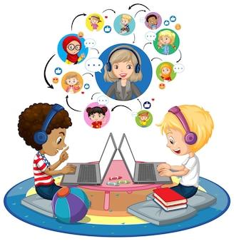 Vista laterale di ragazzi che utilizzano computer portatile per comunicare in videoconferenza con insegnanti e amici su bianco