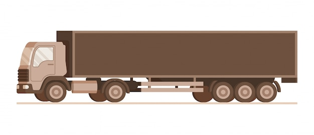 Side view of brown warehouse weight delivery truck