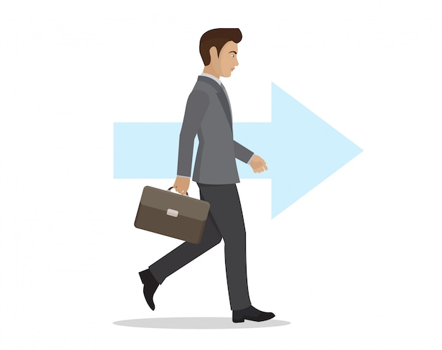 Side view of a businessman walking forward.