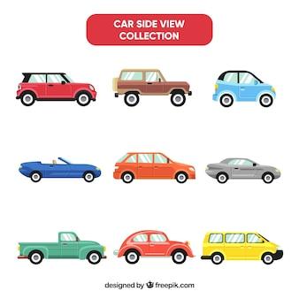 Una collezione di auto a vista laterale di nove
