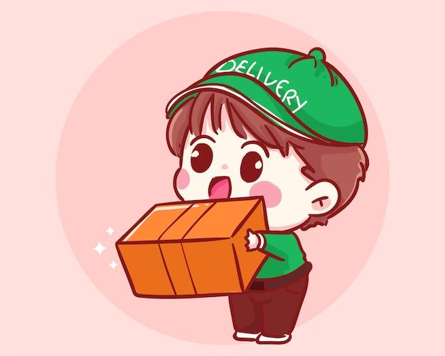 Боковой вид доставки мальчик держит коробку. концепция доставки мультфильм иллюстрация