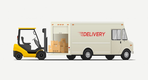 サイドビューフォークリフトボックスを配送トラックに読み込みます。白い背景で隔離されました。物流配送のコンセプトです。
