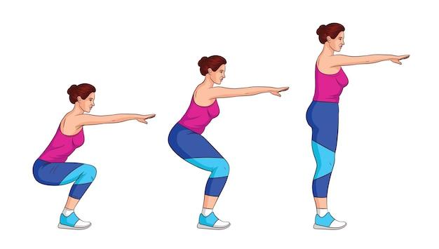 側面図の女の子は自分の体重で訓練します。スポーツウェアの魅力的な女の子が運動しています。アニメーションの女の子のスクワットに設定