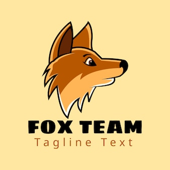 Side view head fox team with text logo design