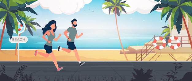 Side view illustration of young couple running together on the beach