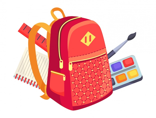 Side view on kids backpack and paints with brush