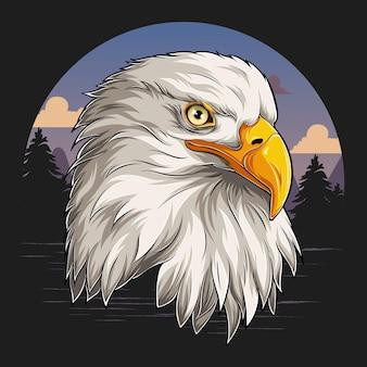 Вид сбоку на голову белого орла серьезный королевский
