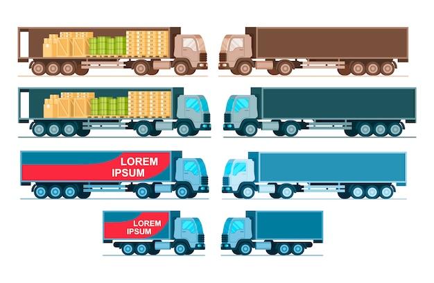 Вид сбоку комплекта грузовых автомобилей экспресс-доставки грузов