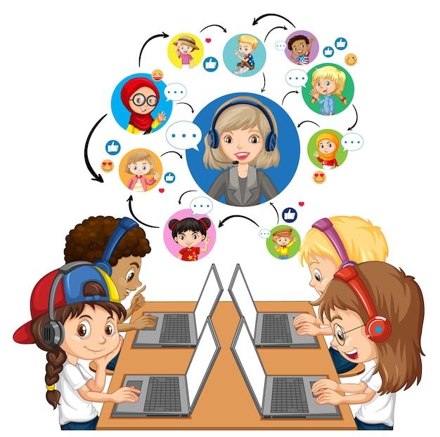 노트북을 사용하는 어린이의 측면보기는 교사 및 친구와 화상 회의를 의사 소통합니다.