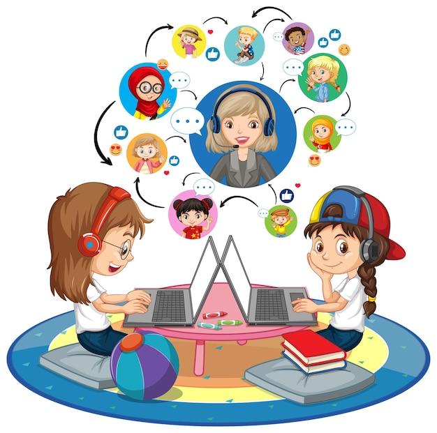 교사 및 친구들과 화상 회의를 의사 소통하기 위해 노트북을 사용하는 소녀의 측면보기