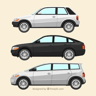 Side view of three realistic cars of different types