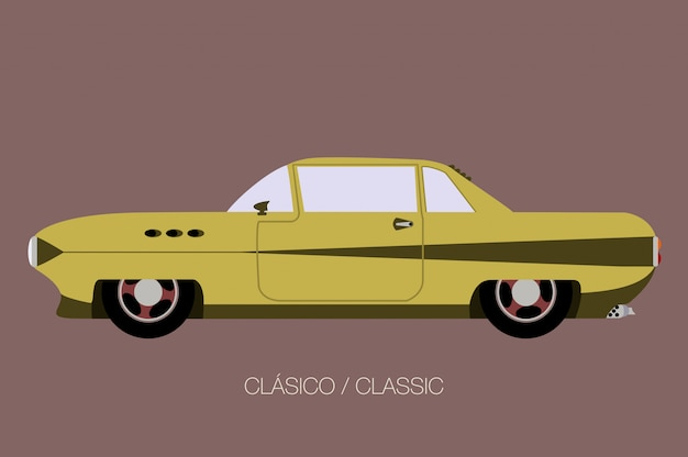 Side view old american classic car, side view, flat design style