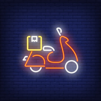 Side view of scooter on brick background. neon style