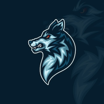 Side view of wolf head esport mascot illustration