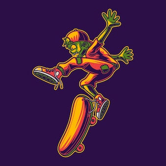 Side view of zombies skateboarding with jumping style