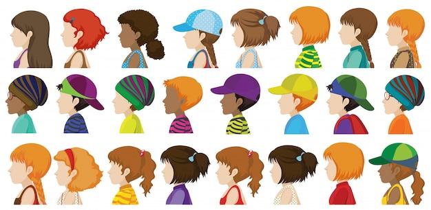 Боковой вид различных лиц человека на белом фоне
