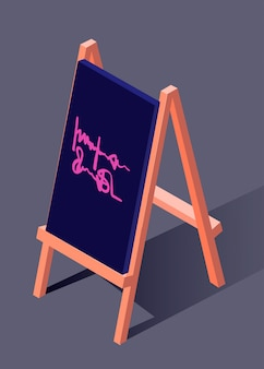 Sidewalk sign isometric vector art illustration. urban modern design.