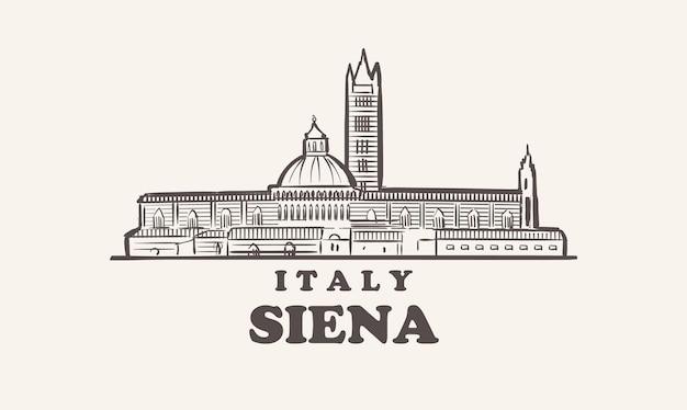 시에나 도시 풍경 스케치 손으로 그린, 이탈리아