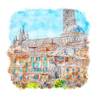 시에나 이탈리아 수채화 스케치 손으로 그린 그림