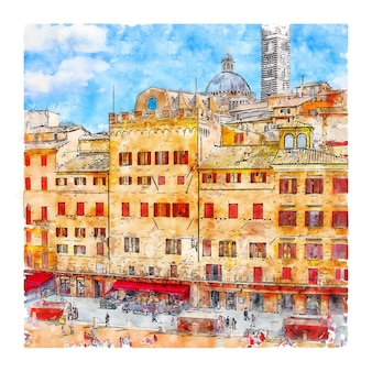 Siena italy watercolor sketch hand drawn illustration