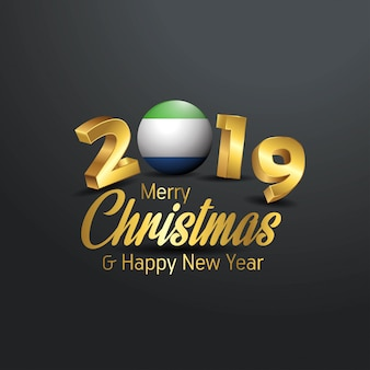 Sierra leone flag 2019 merry christmas typography