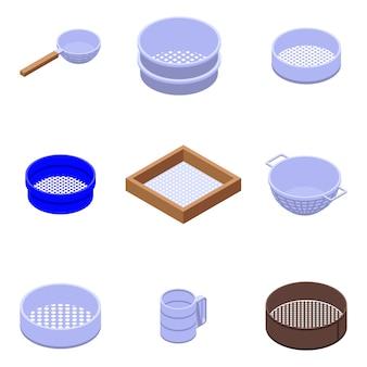 Sieve icons set, isometric style
