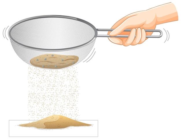 Esperimento di setacciare la sabbia con lo scolapasta che stringe la mano