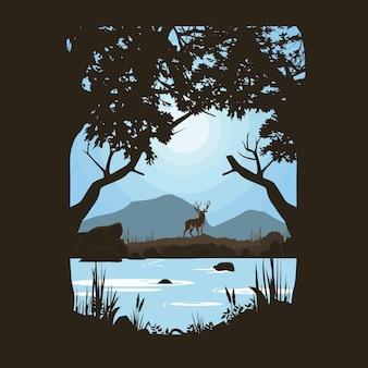 강가에있는 사슴의 광경