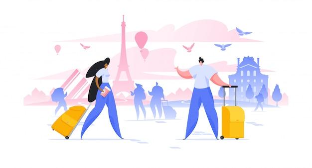 ヨーロッパの都市でスーツケースを持ったパリイラスト男女の観光休暇