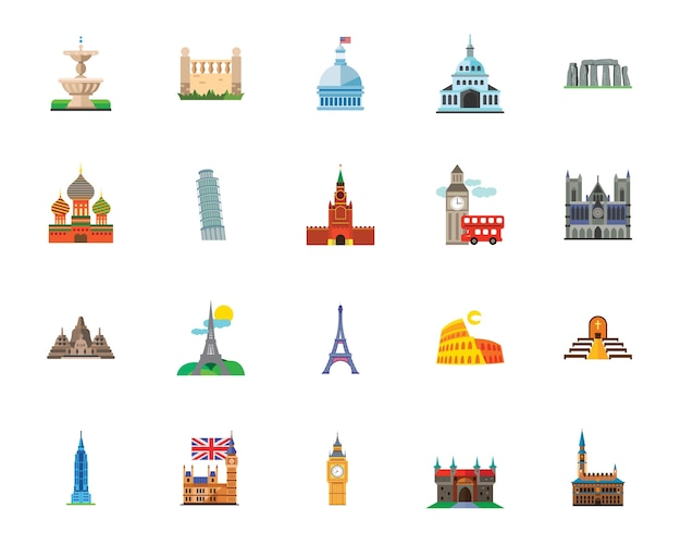 Sightseeing icon set