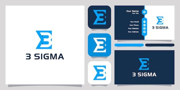 음수 공간 번호 3 로고 디자인 아이콘 기호 벡터 템플릿 시그마. 로고 디자인 및 명함 디자인.