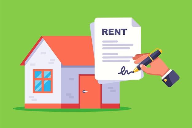 住宅を借りるための書類に署名します。平らな