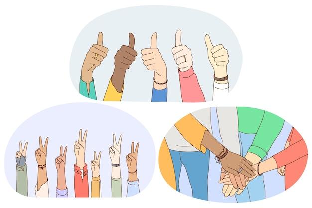 サインとジェスチャー言語、手の感情表現の概念。
