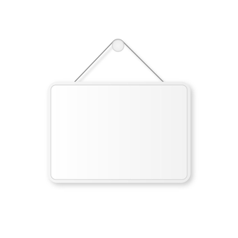 Sign blank template for door isolated on white background front view