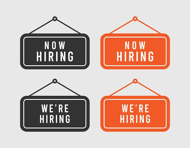 Sign board now hiring and we're hiring icon on gray background.