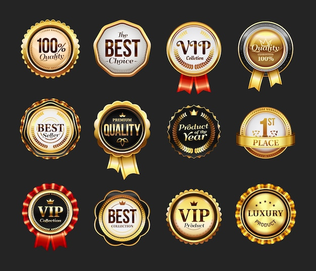 Sign for brand product or vip icon with ribbon. round stamp for best company. insignia for advertising, logo for quality assurance. retail and trade badge, seal for certificate,retro business logotype