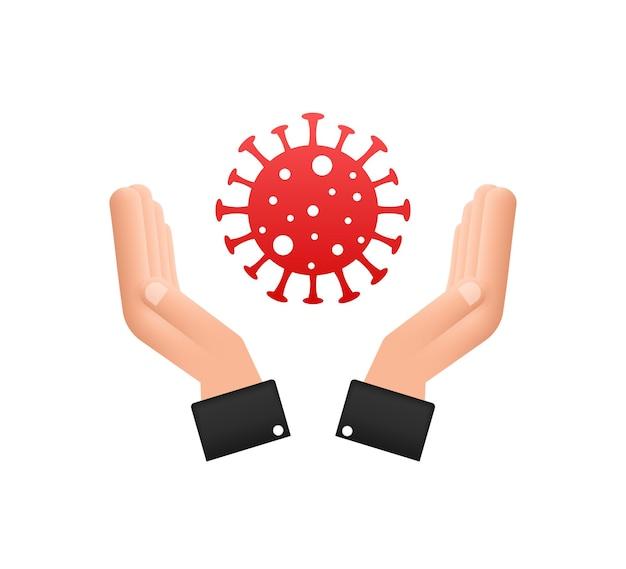 Sign caution coronavirus in hands coronavirus danger and public health risk disease