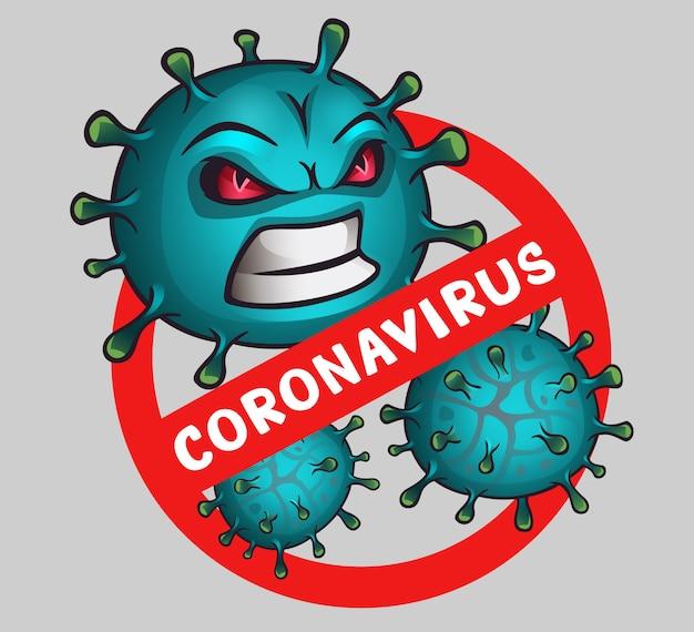 Sign caution virus with the text coronavirus