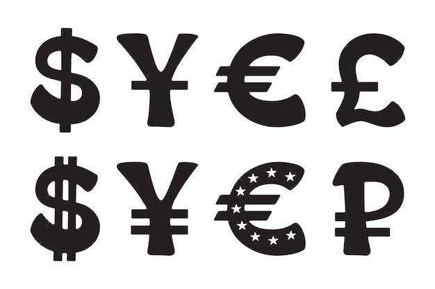Sign of dollar euro yen yuan ruble pound vector illustration set of silhouette icon