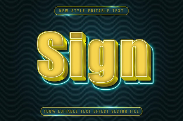 Sign editable text effect modern neon style