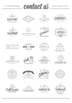 Большой набор свяжитесь с нами sign elements