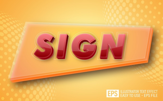 Sign glossy 3d text editable style effect template