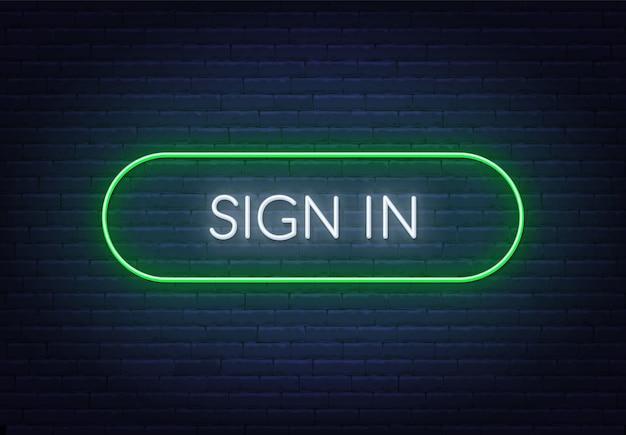レンガの背景にネオンサインでサインインします。フレームの色を簡単に変更できます。